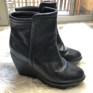 Anthropologie Faryl Robin Black Ankle Wedge Boots